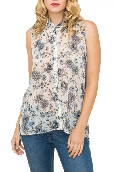 Mystree - Print Mix Chiffon Shirt With Back Pleat - Blue Mix