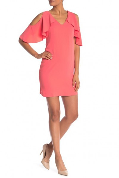 Trina Turk  - Women's Kaidence Cold Shoulder Dress - Coral Lily