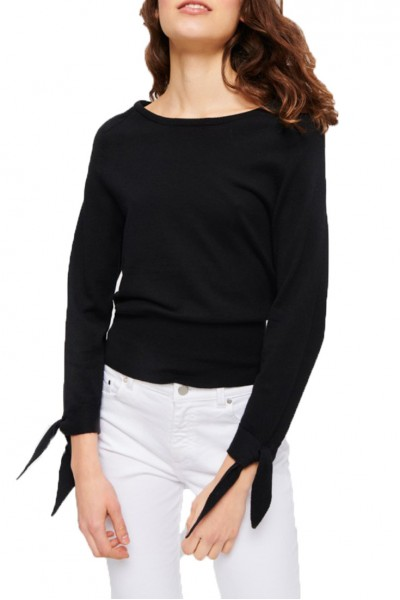 Tara Jarmon - Bow Detail Cotton Mix Sweater - 99-Noir