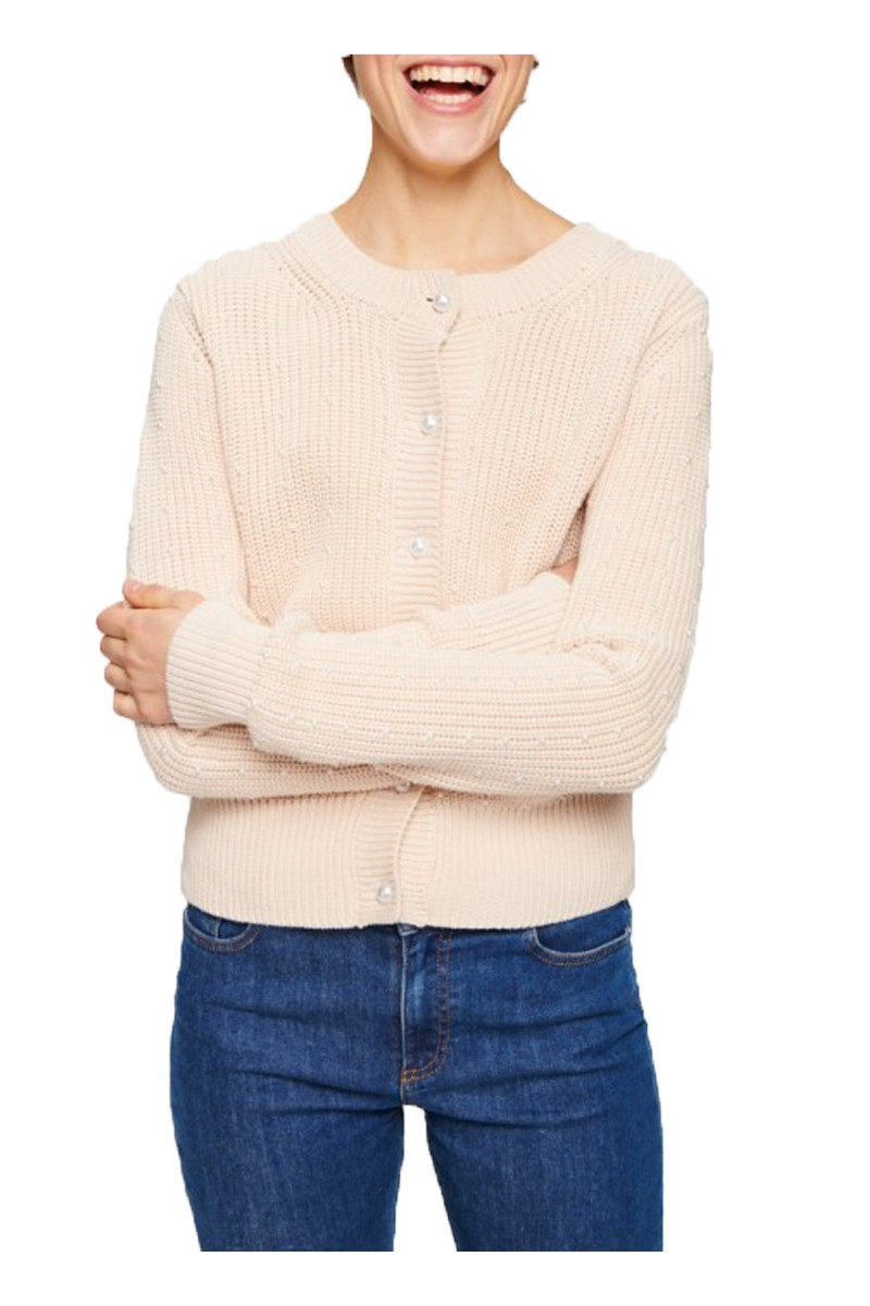 Tara Jarmon - Pearls & Cables Cardigan - 101-Naturel