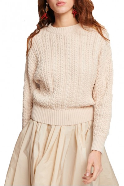 Tara Jarmon - Pearls & Cables Sweater - 101-Naturel