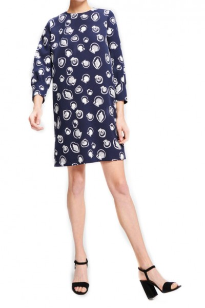 Tara Jarmon - Shell Print On Heavy Crepe Dress - 891-Bleu Nuit