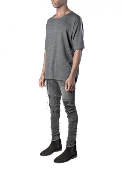 Kollar - Men's Stripe Knit T - Charcoal