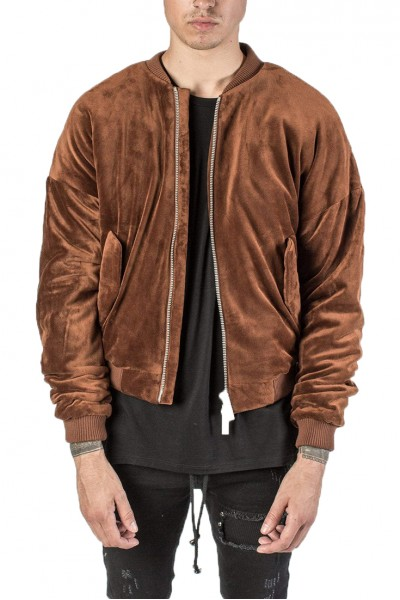 Kollar - Men's Vellour Oversize Bomber - Burnt Orange