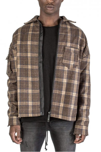Kollar - Men's Zip Flannel Jacket - Brown