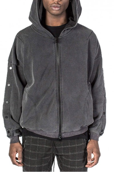 Kollar - Men's Zip Up Hoody - Wash Black
