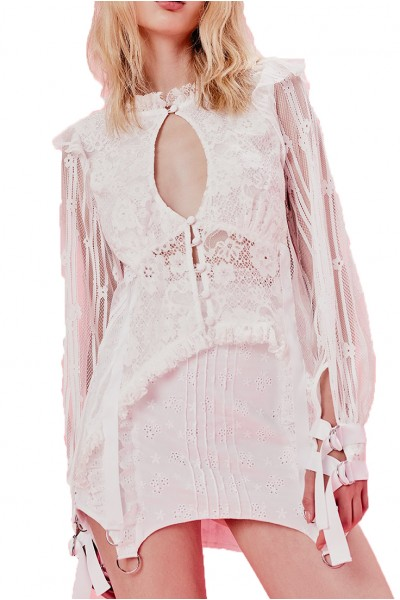 For Love And Lemons - Women's Abigail Blouse - White