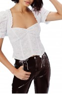 For Love And Lemons - Women's Bleau Short Sleeve Top - White