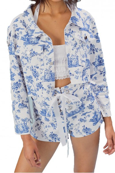 For Love And Lemons - Women's Delphine Cropped Jacket - Blue