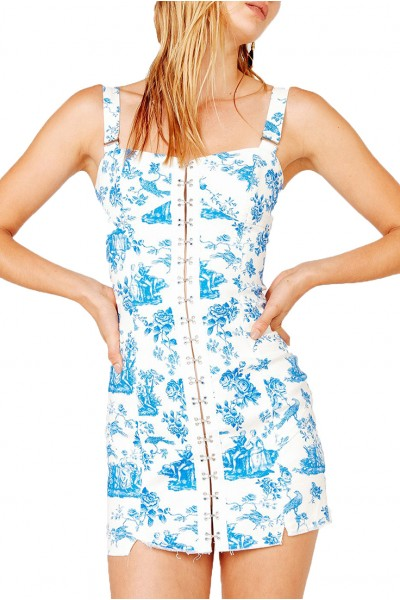 For Love And Lemons - Women's Monika Hook Front Mini Dress - Blue