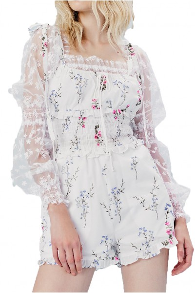 For Love And Lemons - Women's Tableau Romper Top - Ivory Floral