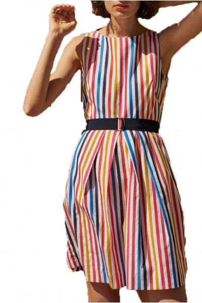 Tara Jarmon - Women's Multi Coloured Striped Dress - Blanc
