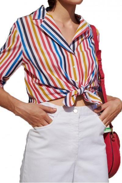 Tara Jarmon - Women's Multi Coloured Striped Shirt - Blanc