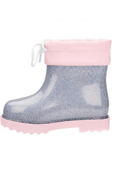 Mini Melissa - Baby & Kids Mini Rainboot - Silver Glitter