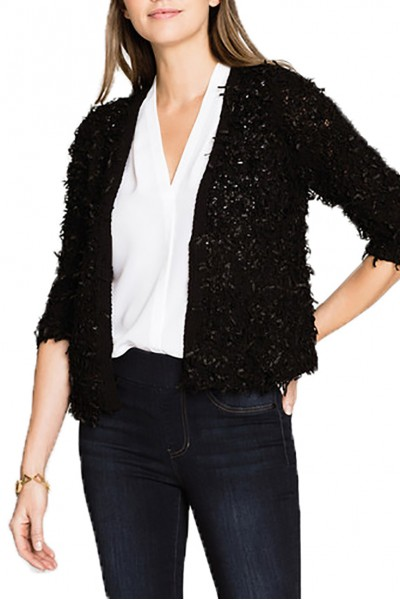 Nic+Zoe - Plush Party Cardy - Black Onyx