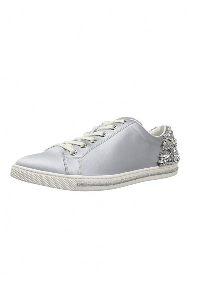 Badgley Mischka - Women's Shirley Embellished Lace Up Sneakers - Silver