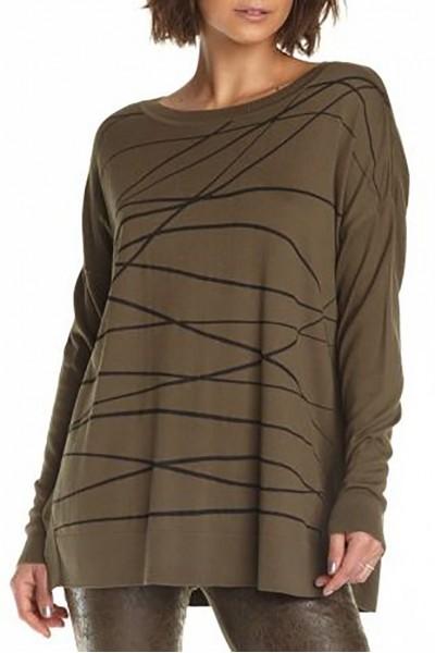 Planet - Women's Scribble Long Sweater - Army Black