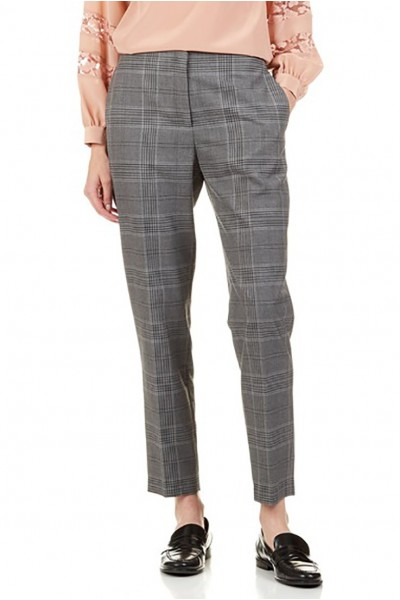 Tara Jarmon - Women's Checked Straight Pants - Gris Chine Clair