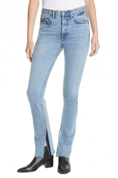 Grlfrnd - Women's Addison Split Hem Boot Leg Jeans - Touch The Floor