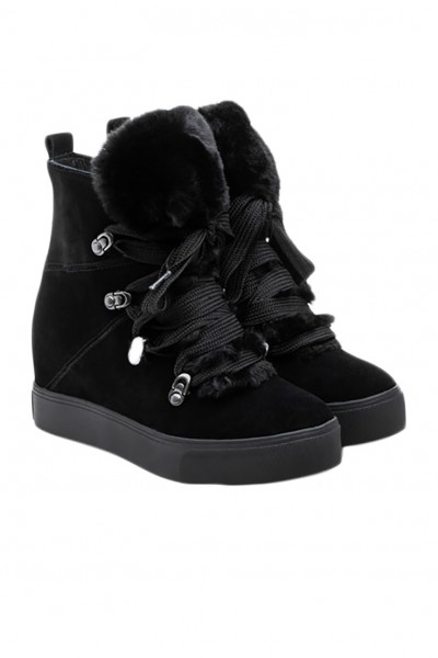 J Slides - Women's Whitney Boots - Black Suede