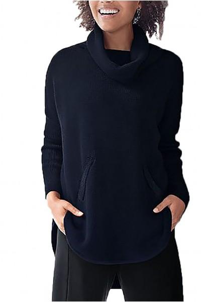 Planet - Women's Waffle Cowl Sweater - Midnight