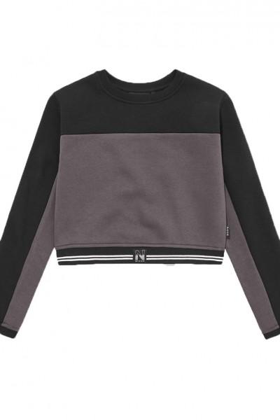 Nicce - Women's Ennis Long Sleeve Sweat Tee - Coal Grey Black