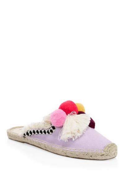 Soludos - Women's Frayed Edge Pompom Mule Slipper - Lilac