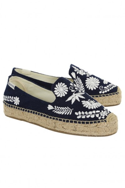 Soludos - Women's Ibiza Embroidered Smoking Slipper - Midnight Blue