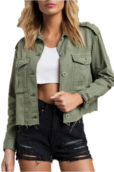 Pistola - COVE CROPPED MILITARY JACKET - SWEET BAY OLIVE