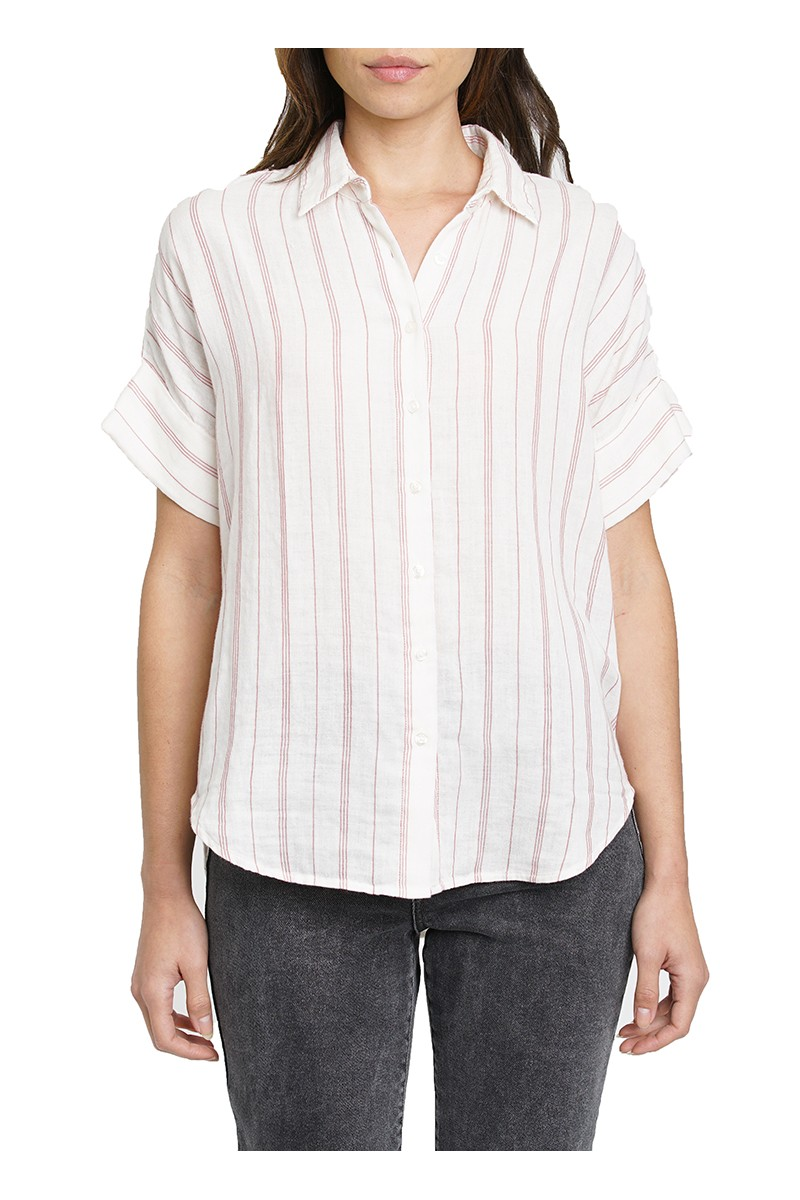 Pistola - AVERY CUFFED S/S BUTTON UP SHORT - Manchester Stripe
