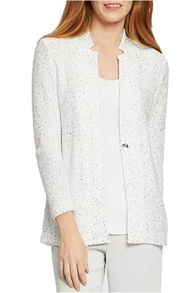Nic+Zoe - Women's Sequin Moment Blazer - Paper White