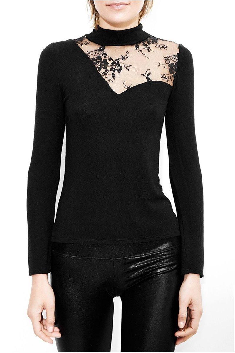 Tahari - Faux Pearl Embroidered Crepe Pantsuit - Black