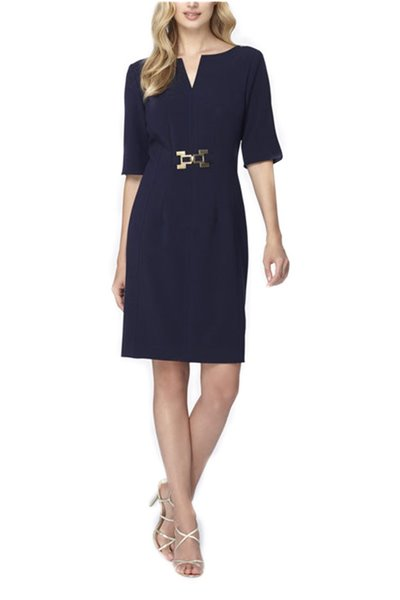 Tahari - Split Neck Double Woven Sheath - Navy