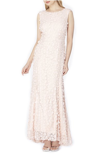 Tahari - Faux Pearl Beaded Gown - Blush Pink