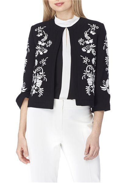 Tahari Brand - Embroidered Floral Print Crepe Jacket - Black