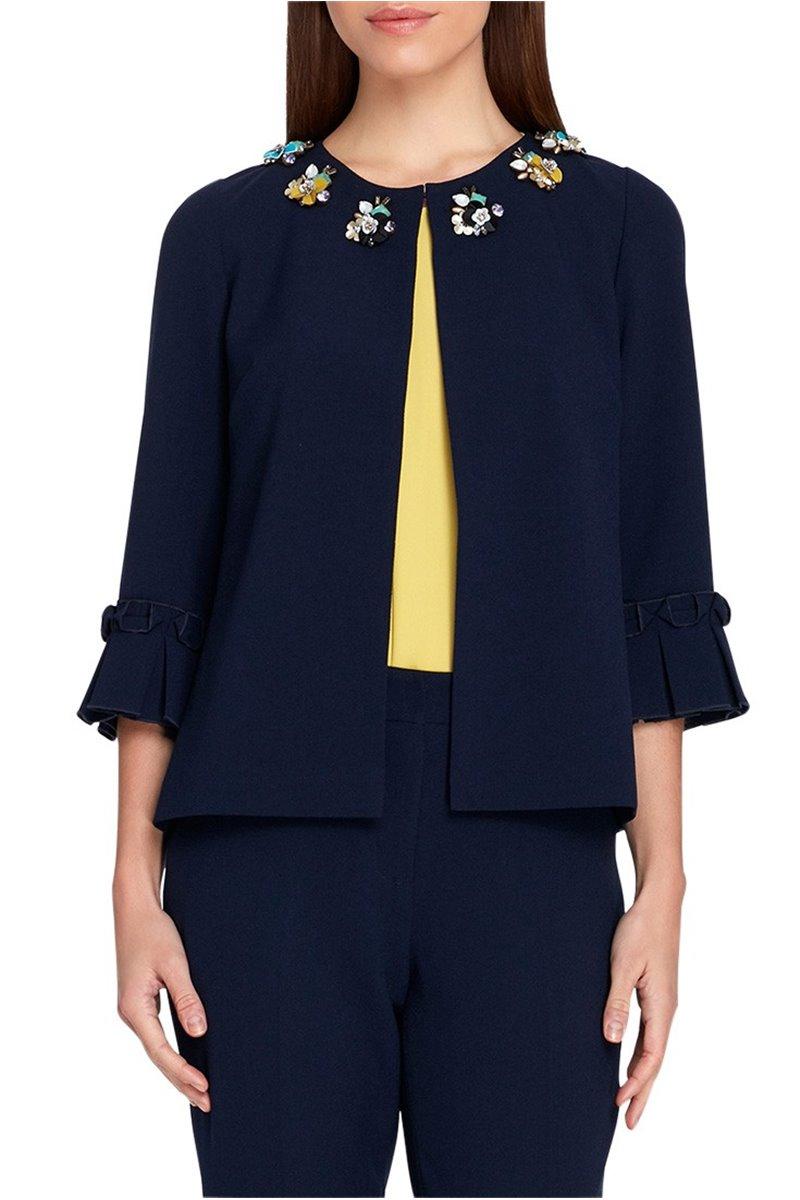 Tahari - Women's Jeweled Pleat Sleeve Jacket - Navy