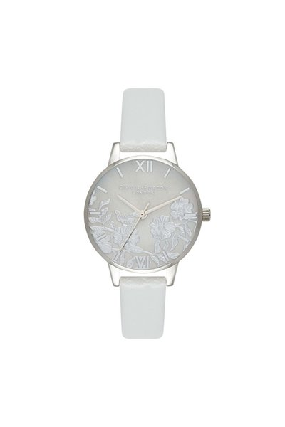 Olivia Burton - Women's Lace Detail Mother Of Pearl Dial Watch - Light Grey Silver