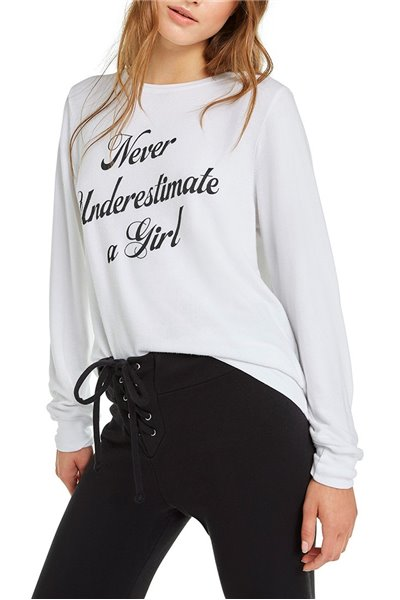 Wildfox - RE18A - Never Underestimate A Girl Baggy Beach Jumper - Clean White