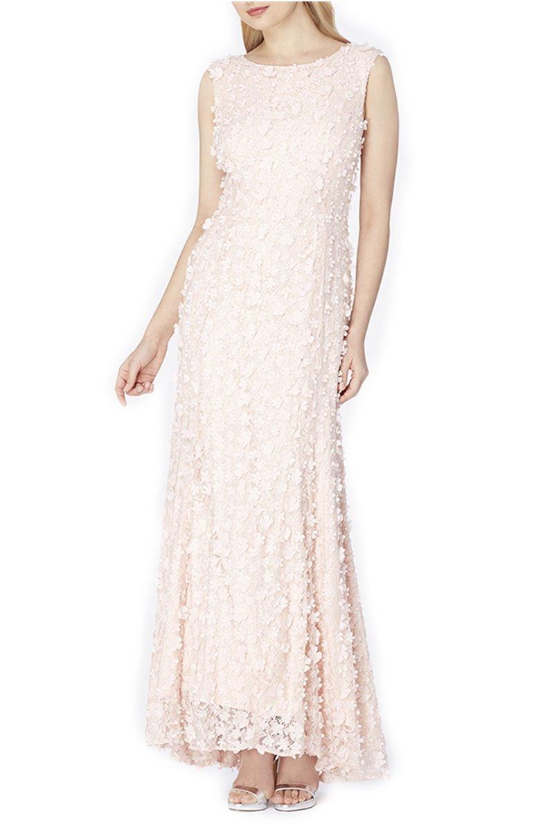 Tahari - Faux Pearl Beaded Gown - Blush Pink