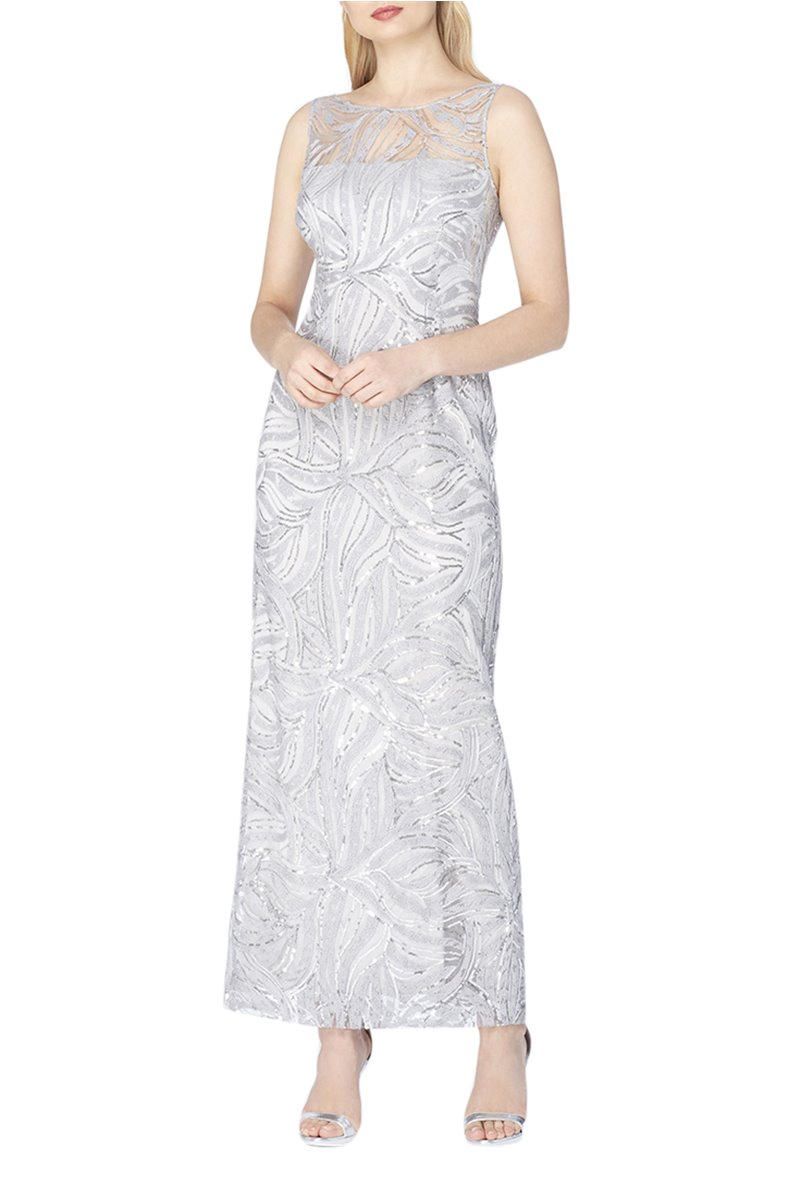 Tahari Brand - Illusion Neckline Sequin Gown