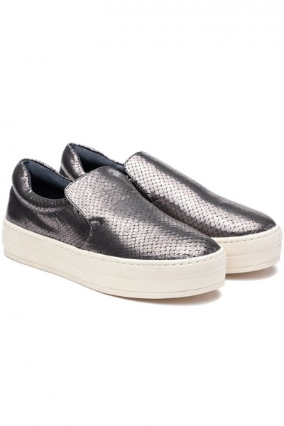 JSlides - Harry Embossed Leather Shoe - Pewter