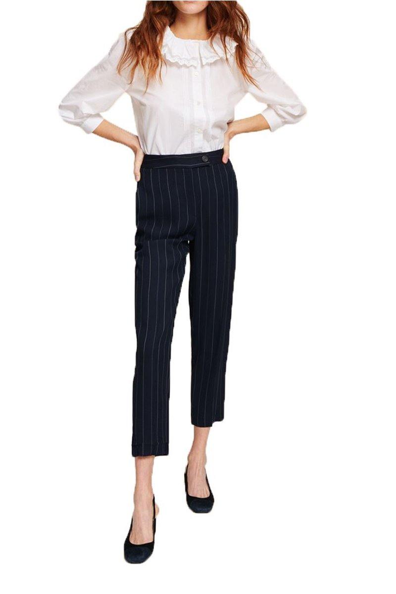 Tara Jarmon - Women's Striped Pants - Bleu Nuit