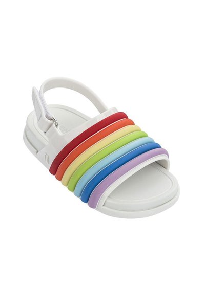 Mini Melissa - Kids Beach Slide Sandal Rainbow BB - White