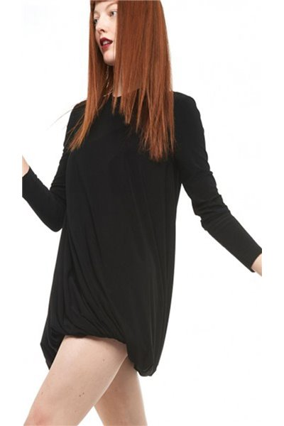 Norma Kamali - Long Sleeve Twist Mini Dress - Black