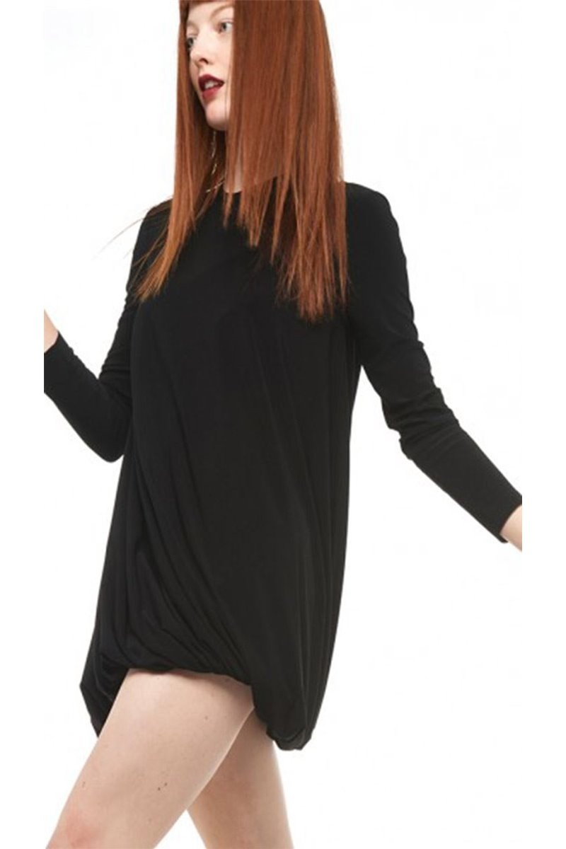 Norma Kamali - Long Sleeve Twist Mini Dress - Black