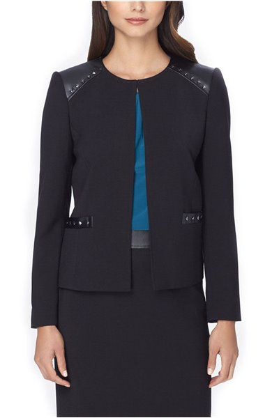 Tahari - Studded Faux Leather-Trim Ponte Knit Jacket - Black
