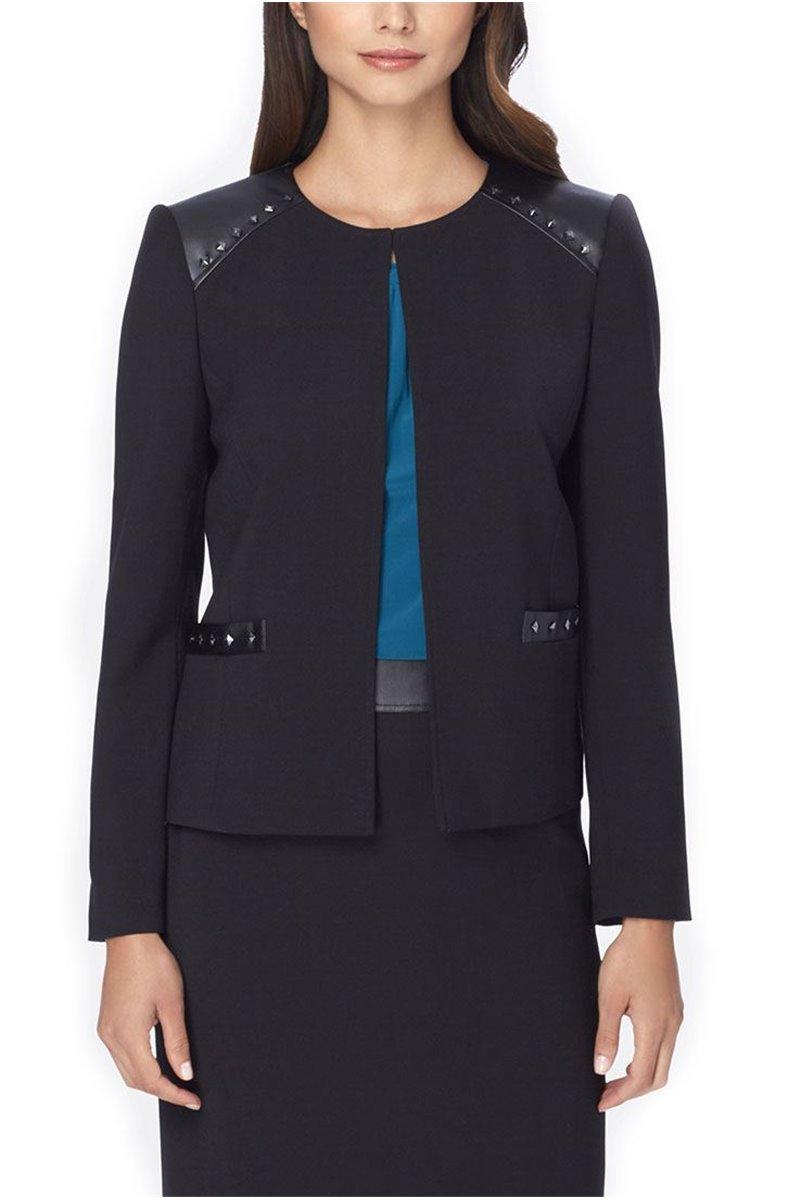 Tahari - Studded Faux Leather-Trim Ponte Knit Jacket - Black