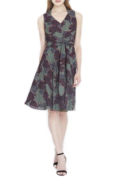 Tahari Brand - Floral Georgette A-Line Dress - Olive Black Gold
