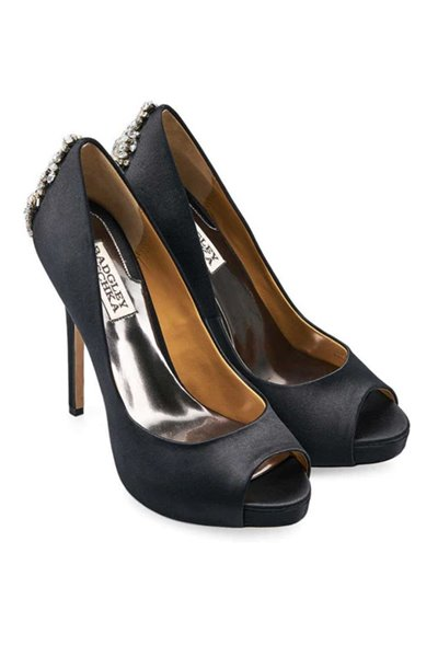 Badgley Mischka - Women's Kiara Embellished Peep-Toe Pump - Black
