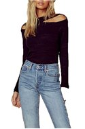 LNA - Women's Clyde Cut Out Top - Heather Black